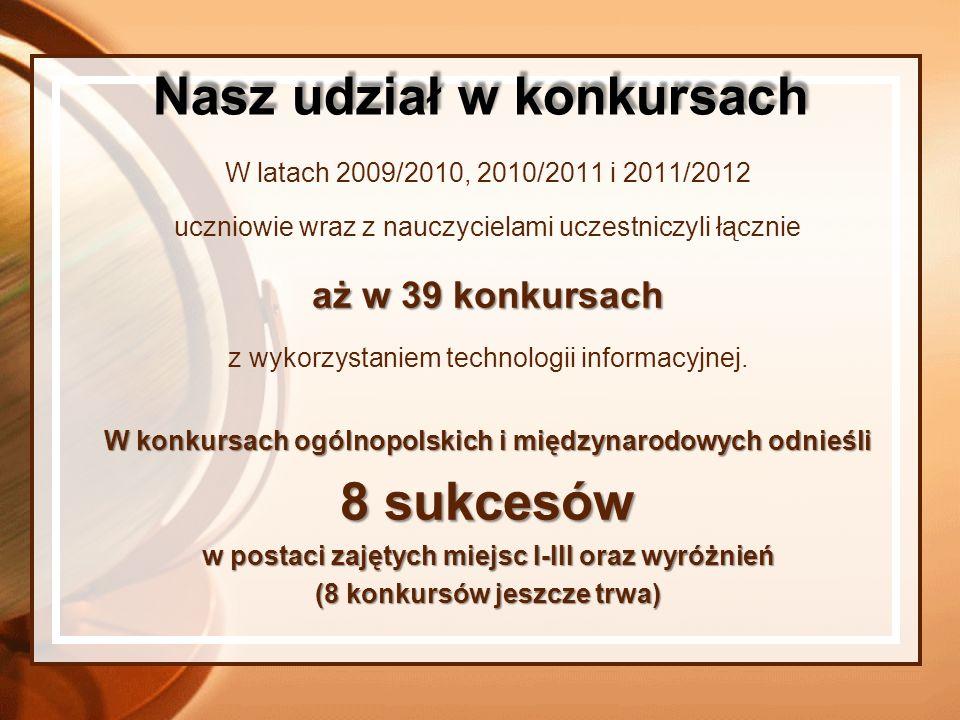 W latach 2009/2010, 2010/2011 i 2011/2012 uczniowie wraz z nauczycielami uczestniczyli łącznie aż w 39 konkursach z wykorzystaniem technologii informa