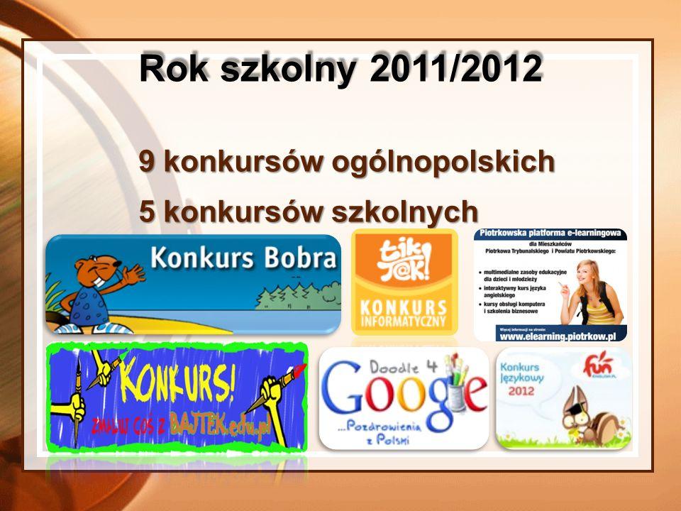9 konkursów ogólnopolskich 5 konkursów szkolnych Rok szkolny 2011/2012