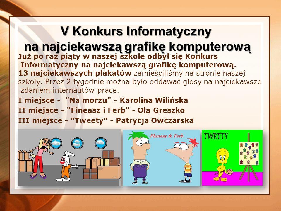 Uczniowie klas szóstych uczestniczyli w Konkursie Informatycznym na najciekawszy plakat wykonany w programie graficznym do tematu Bezpieczny Internet .