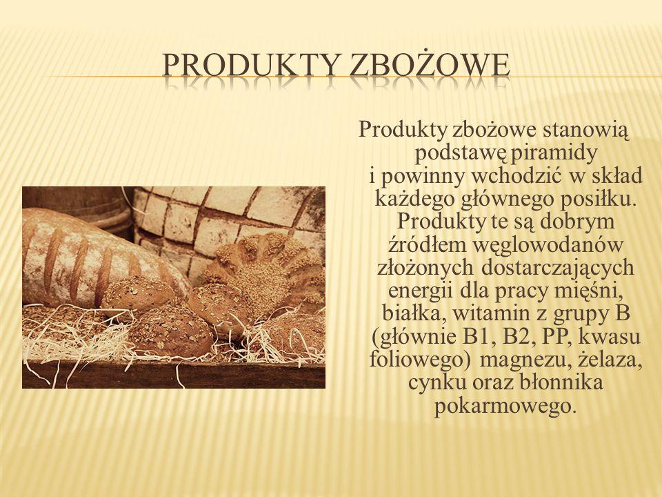 Produkty zbożowe stanowią podstawę piramidy i powinny wchodzić w skład każdego głównego posiłku. Produkty te są dobrym źródłem węglowodanów złożonych