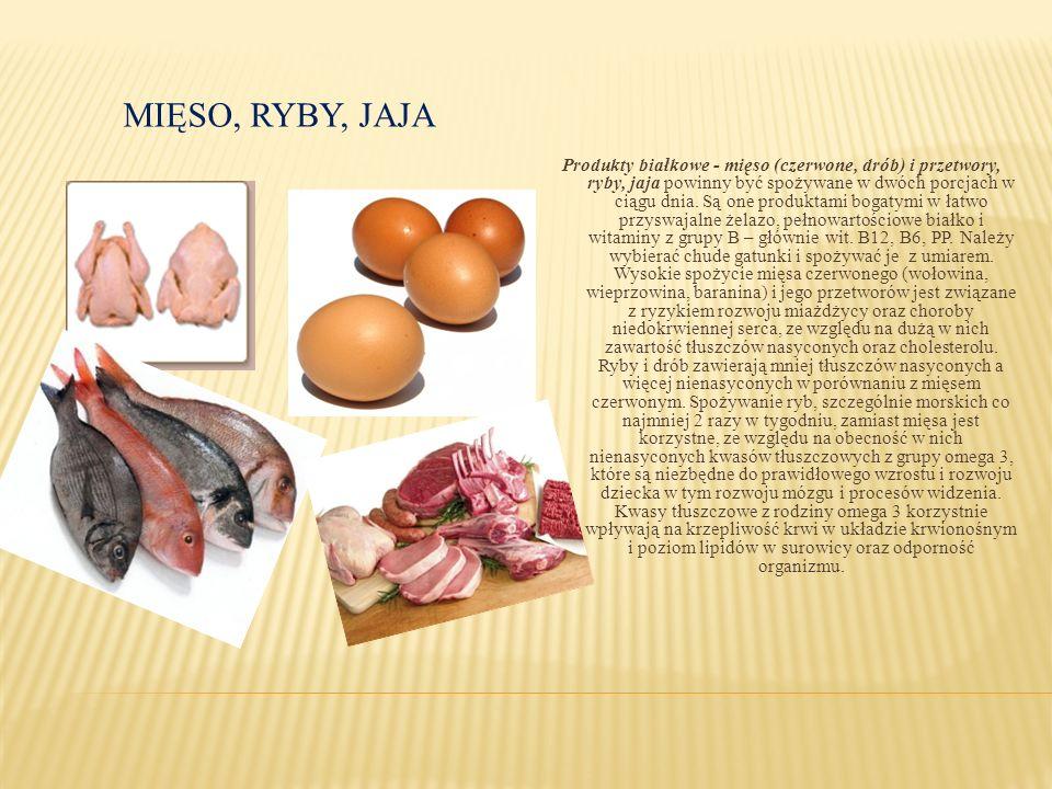 MIĘSO, RYBY, JAJA Produkty białkowe - mięso (czerwone, drób) i przetwory, ryby, jaja powinny być spożywane w dwóch porcjach w ciągu dnia. Są one produ