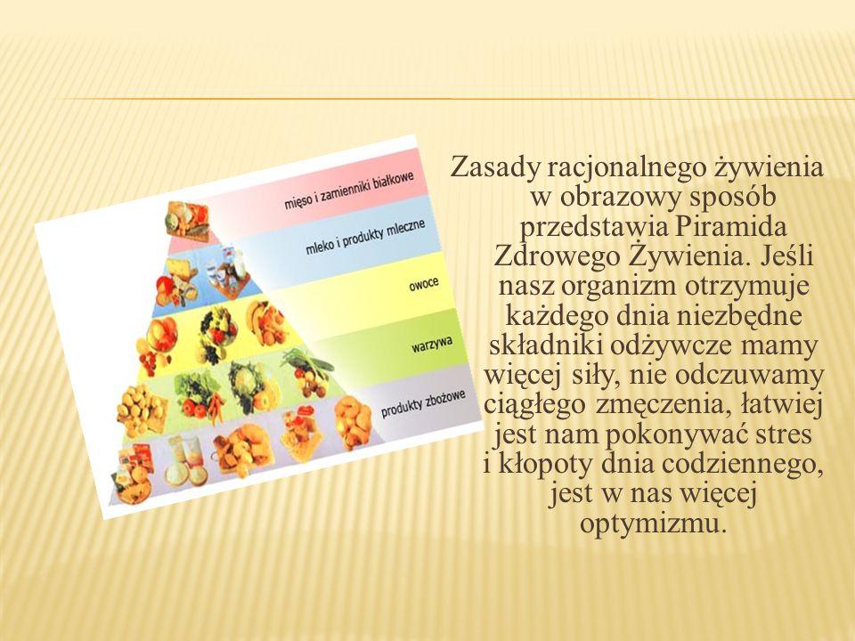Zasady racjonalnego żywienia w obrazowy sposób przedstawia Piramida Zdrowego Żywienia. Jeśli nasz organizm otrzymuje każdego dnia niezbędne składniki