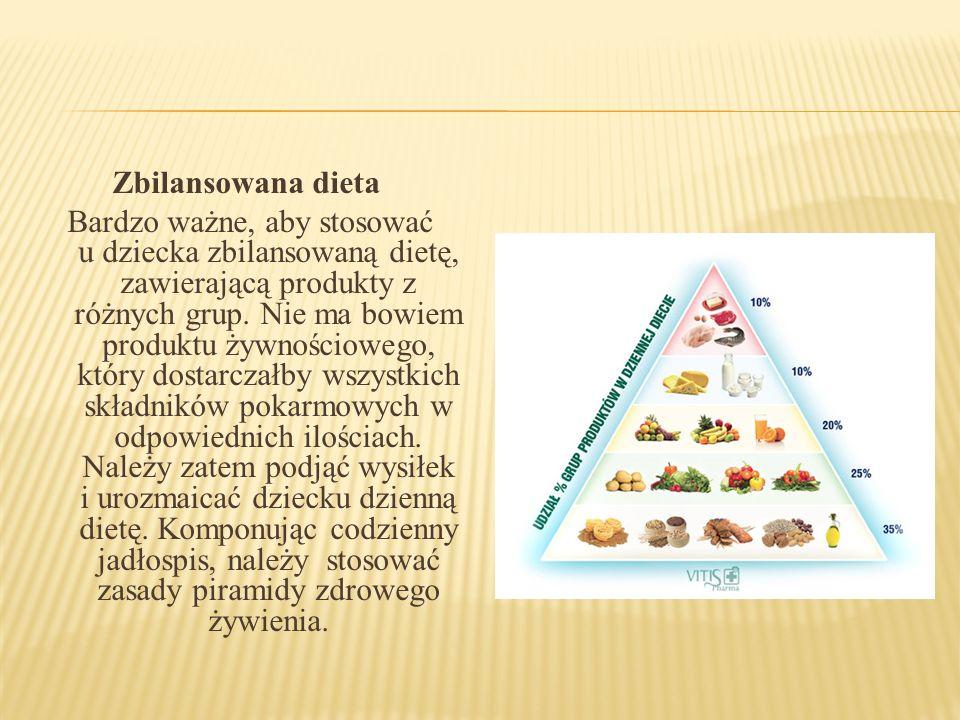 Zbilansowana dieta Bardzo ważne, aby stosować u dziecka zbilansowaną dietę, zawierającą produkty z różnych grup. Nie ma bowiem produktu żywnościowego,