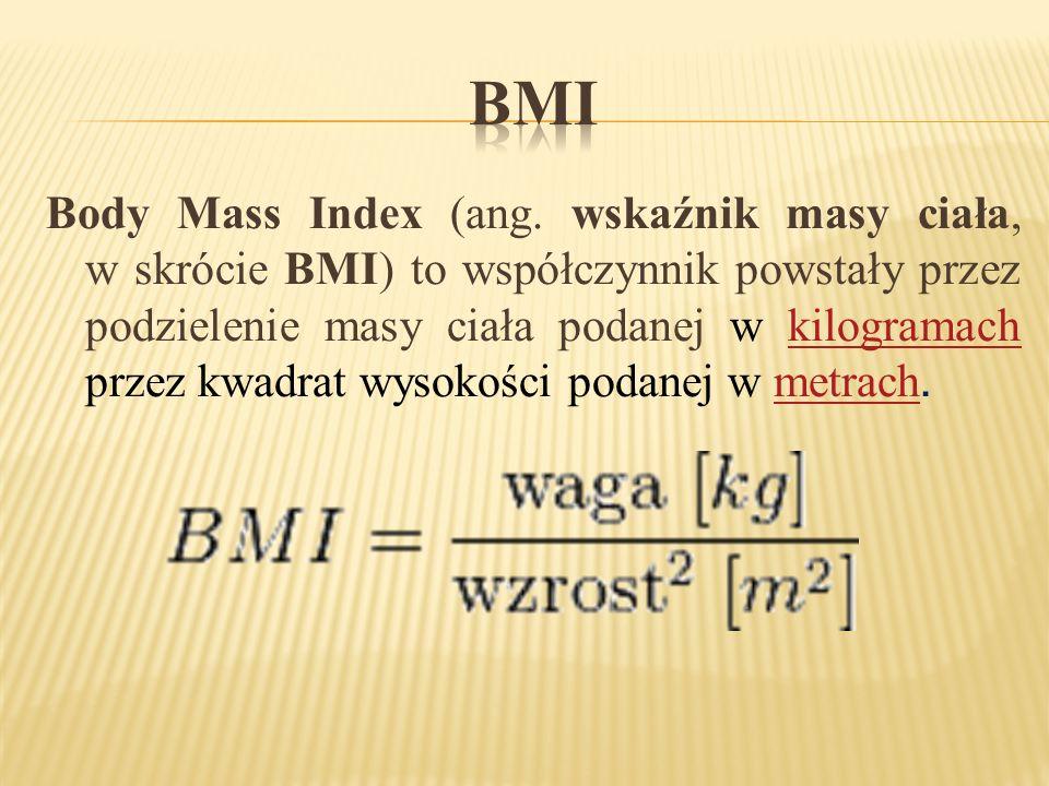 Body Mass Index (ang. wskaźnik masy ciała, w skrócie BMI) to współczynnik powstały przez podzielenie masy ciała podanej w kilogramach przez kwadrat wy
