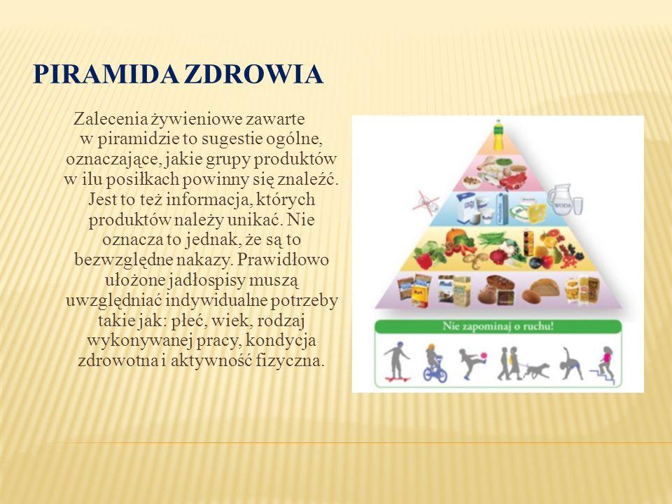 PIRAMIDA ZDROWIA Zalecenia żywieniowe zawarte w piramidzie to sugestie ogólne, oznaczające, jakie grupy produktów w ilu posiłkach powinny się znaleźć.