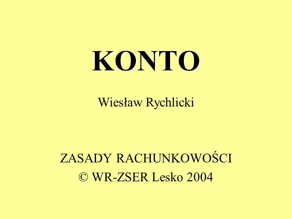 KONTO ZASADY RACHUNKOWOŚCI © WR-ZSER Lesko 2004 Wiesław Rychlicki