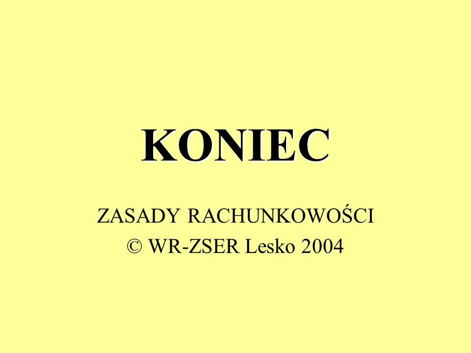 KONIEC ZASADY RACHUNKOWOŚCI © WR-ZSER Lesko 2004
