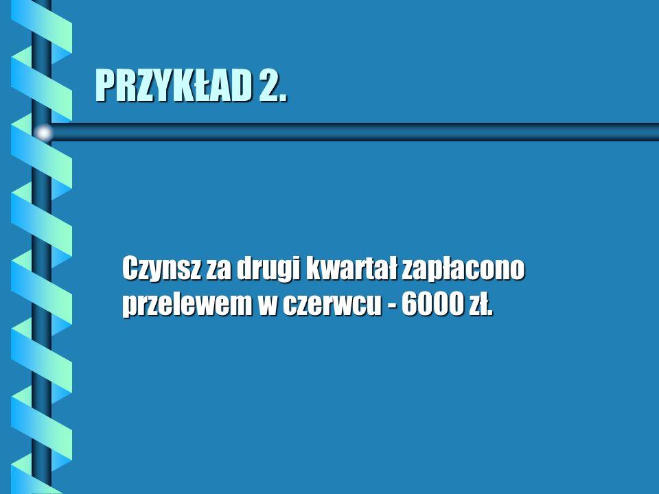 PRZYKŁAD 2. Czynsz za drugi kwartał zapłacono przelewem w czerwcu - 6000 zł.