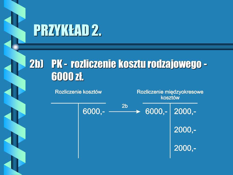 PRZYKŁAD 2. 2b) PK - rozliczenie kosztu rodzajowego - 6000 zł.