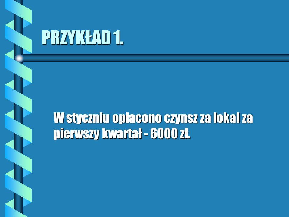 PRZYKŁAD 1. W styczniu opłacono czynsz za lokal za pierwszy kwartał - 6000 zł.