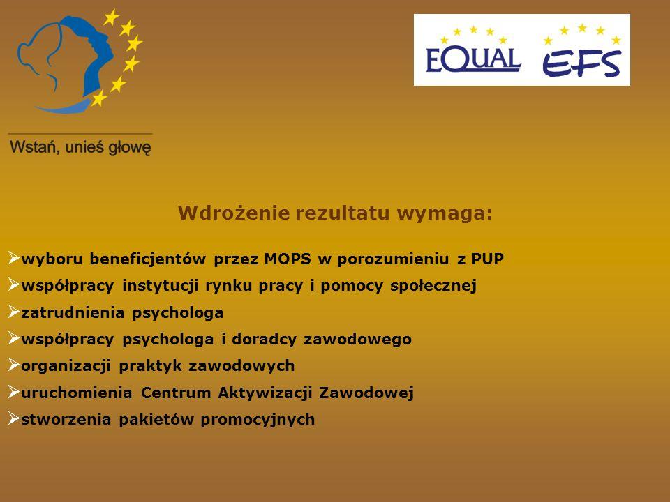 Wdrożenie rezultatu wymaga: wyboru beneficjentów przez MOPS w porozumieniu z PUP współpracy instytucji rynku pracy i pomocy społecznej zatrudnienia ps