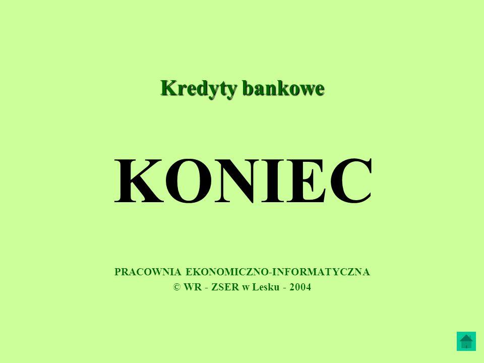 Kredyty bankowe PRACOWNIA EKONOMICZNO-INFORMATYCZNA © WR - ZSER w Lesku - 2004 KONIEC