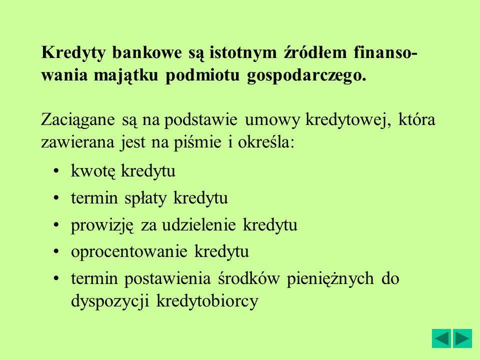 Kredyty bankowe są istotnym źródłem finanso- wania majątku podmiotu gospodarczego. Zaciągane są na podstawie umowy kredytowej, która zawierana jest na