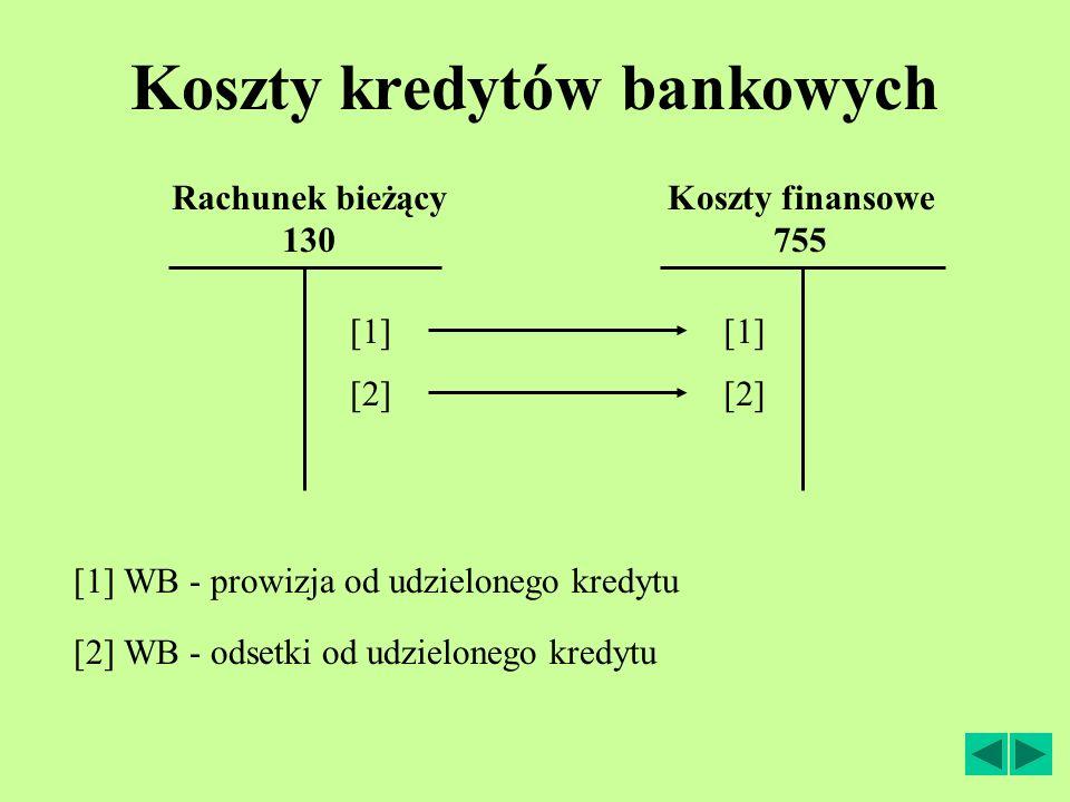 Koszty kredytów bankowych Koszty finansowe 755 [2] WB - odsetki od udzielonego kredytu [1] Rachunek bieżący 130 [1] WB - prowizja od udzielonego kredytu [2]