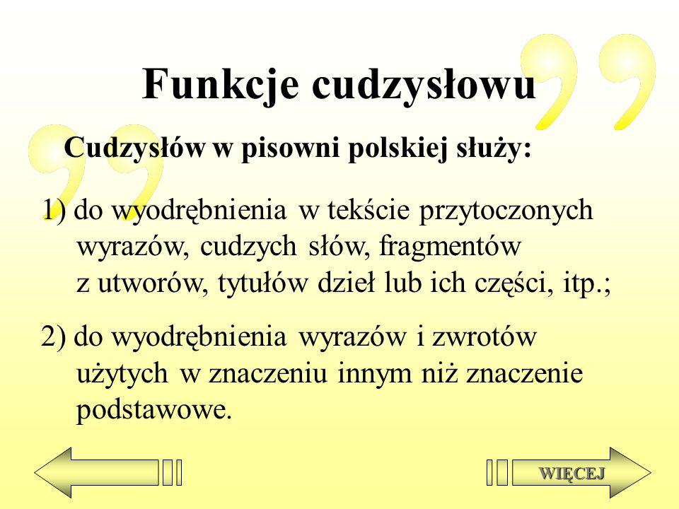 Funkcje cudzysłowu Cudzysłów w pisowni polskiej służy: 1) do wyodrębnienia w tekście przytoczonych wyrazów, cudzych słów, fragmentów z utworów, tytułó