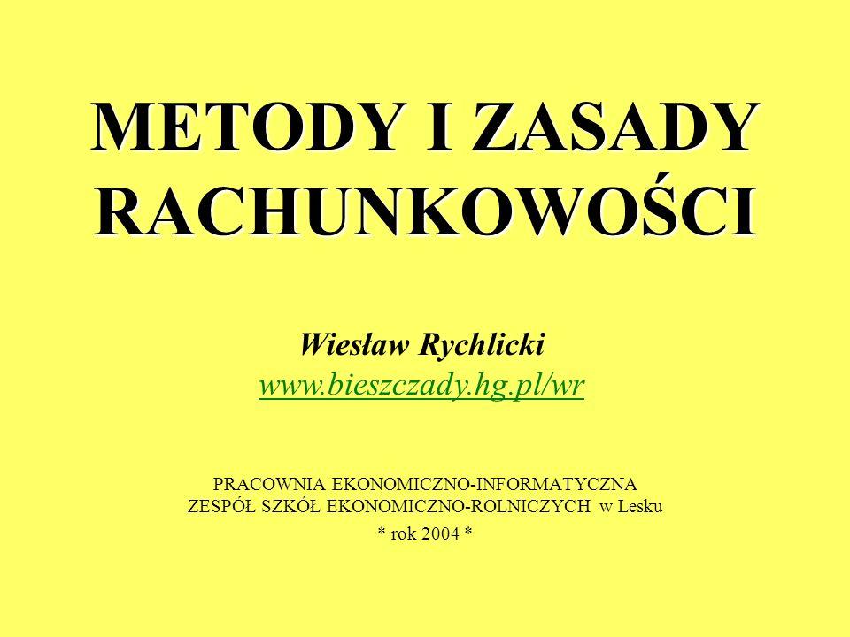 METODY I ZASADY RACHUNKOWOŚCI PRACOWNIA EKONOMICZNO-INFORMATYCZNA ZESPÓŁ SZKÓŁ EKONOMICZNO-ROLNICZYCH w Lesku * rok 2004 * Wiesław Rychlicki www.biesz