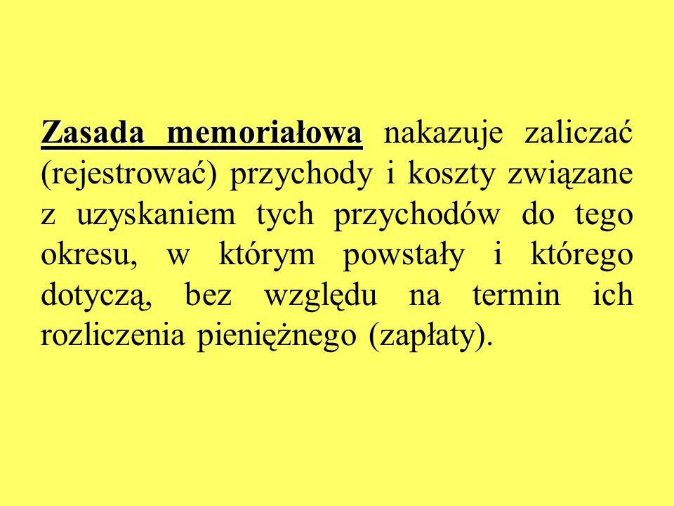 Zasada memoriałowa Zasada memoriałowa nakazuje zaliczać (rejestrować) przychody i koszty związane z uzyskaniem tych przychodów do tego okresu, w który