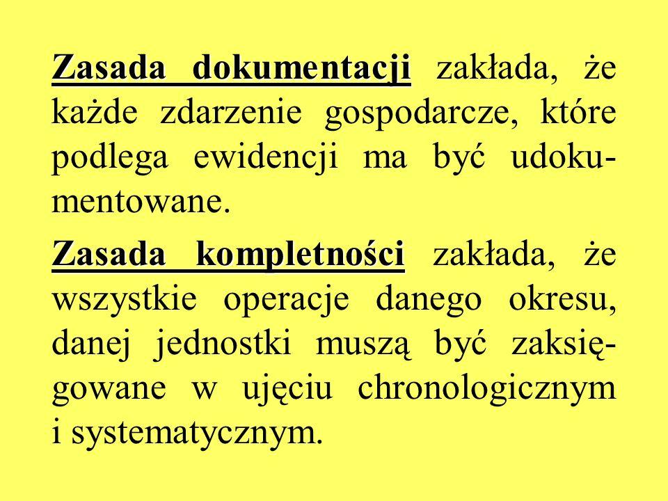 Zasada dokumentacji Zasada dokumentacji zakłada, że każde zdarzenie gospodarcze, które podlega ewidencji ma być udoku- mentowane. Zasada kompletności