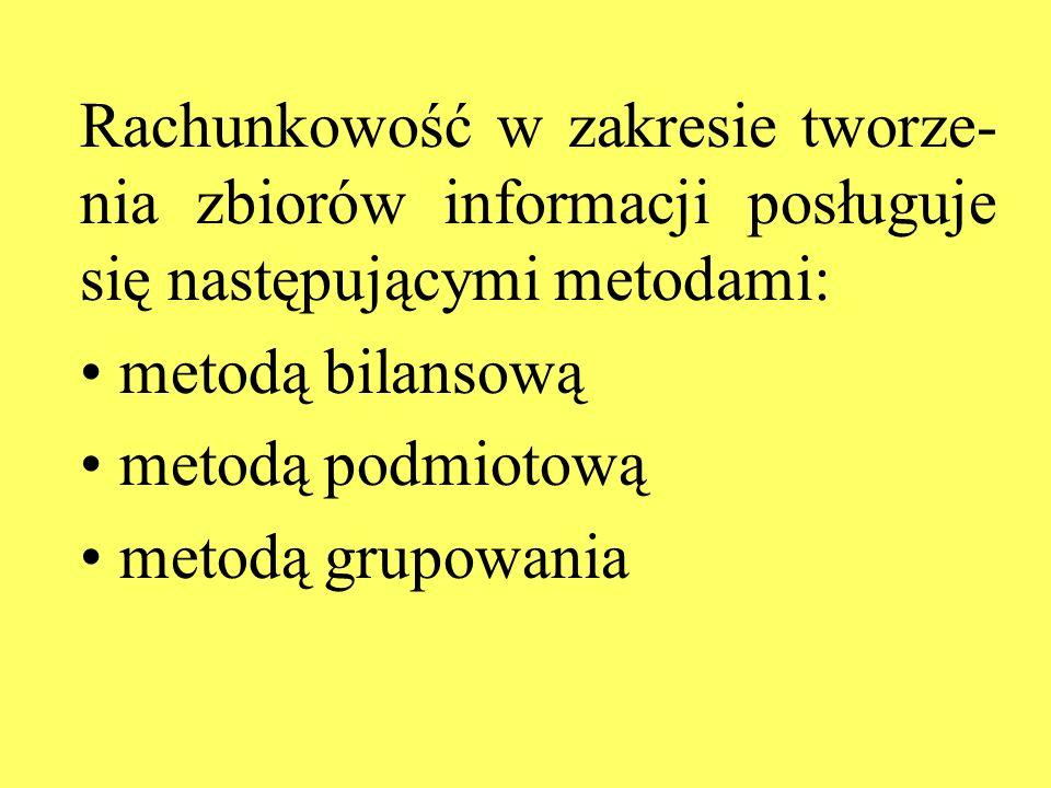 Rachunkowość w zakresie tworze- nia zbiorów informacji posługuje się następującymi metodami: metodą bilansową metodą podmiotową metodą grupowania