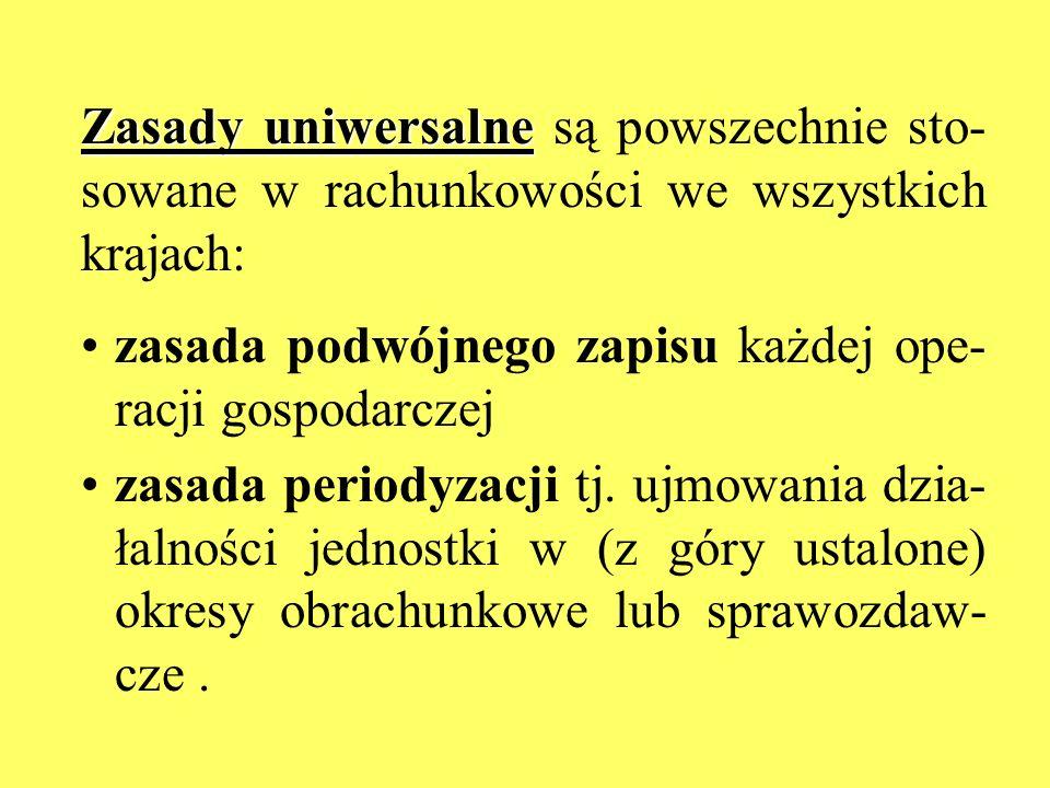 Zasady uniwersalne Zasady uniwersalne są powszechnie sto- sowane w rachunkowości we wszystkich krajach: zasada podwójnego zapisu każdej ope- racji gos
