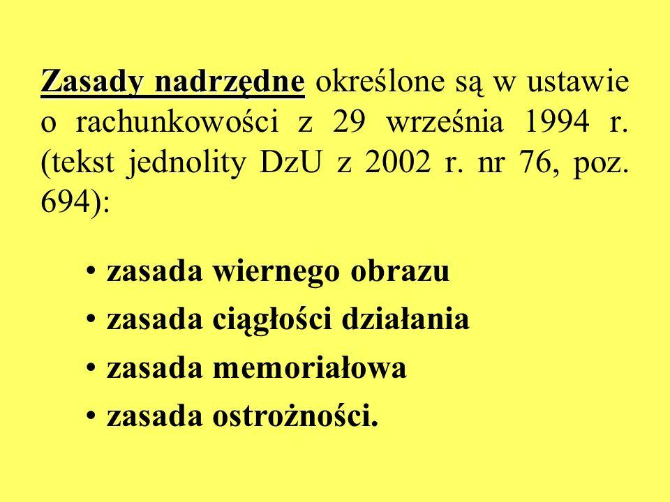 Zasady nadrzędne Zasady nadrzędne określone są w ustawie o rachunkowości z 29 września 1994 r. (tekst jednolity DzU z 2002 r. nr 76, poz. 694): zasada