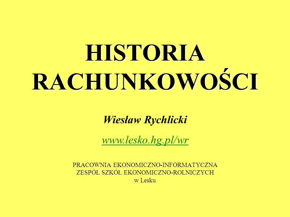 HISTORIA RACHUNKOWOŚCI PRACOWNIA EKONOMICZNO-INFORMATYCZNA ZESPÓŁ SZKÓŁ EKONOMICZNO-ROLNICZYCH w Lesku Wiesław Rychlicki www.lesko.hg.pl/wr