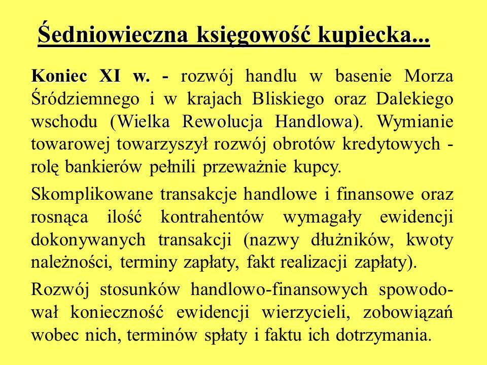 Śedniowieczna księgowość kupiecka... Koniec XI w. - Wielka Rewolucja Handlowa Koniec XI w. - rozwój handlu w basenie Morza Śródziemnego i w krajach Bl