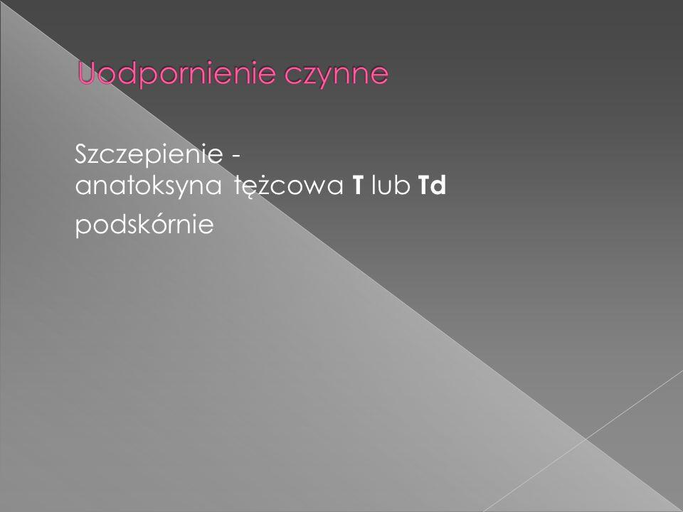 Szczepienie - anatoksyna tężcowa T lub Td podskórnie