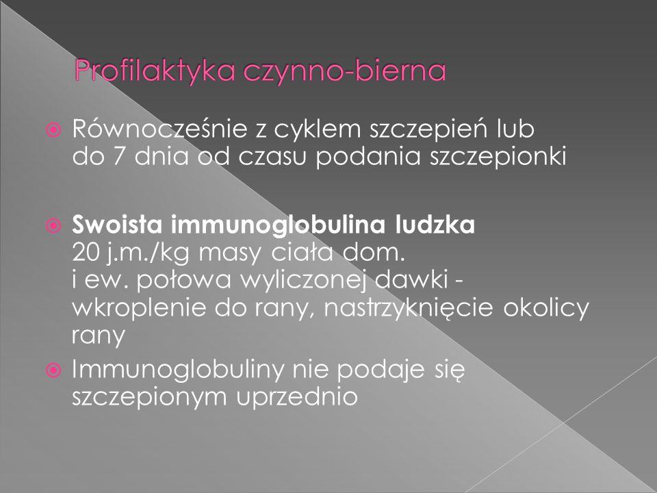 Równocześnie z cyklem szczepień lub do 7 dnia od czasu podania szczepionki Swoista immunoglobulina ludzka 20 j.m./kg masy ciała dom. i ew. połowa wyli