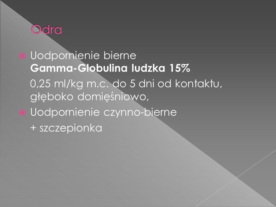 Uodpornienie bierne Gamma-Globulina ludzka 15% 0,25 ml/kg m.c. do 5 dni od kontaktu, głęboko domięśniowo, Uodpornienie czynno-bierne + szczepionka