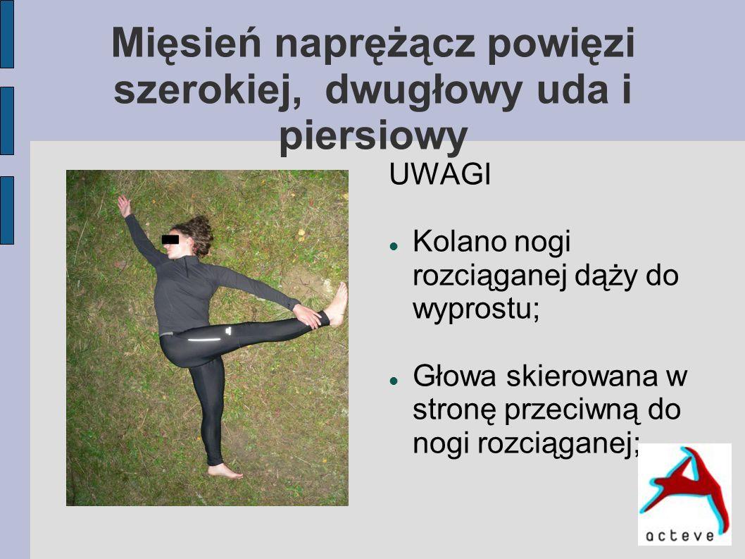 Mięsień naprężącz powięzi szerokiej, dwugłowy uda i piersiowy UWAGI Kolano nogi rozciąganej dąży do wyprostu; Głowa skierowana w stronę przeciwną do n