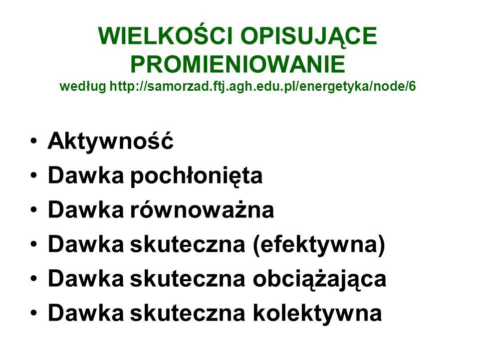 WIELKOŚCI OPISUJĄCE PROMIENIOWANIE według http://samorzad.ftj.agh.edu.pl/energetyka/node/6 Aktywność Dawka pochłonięta Dawka równoważna Dawka skuteczn