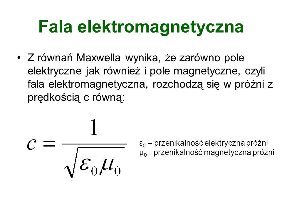 Fala elektromagnetyczna Z równań Maxwella wynika, że zarówno pole elektryczne jak również i pole magnetyczne, czyli fala elektromagnetyczna, rozchodzą