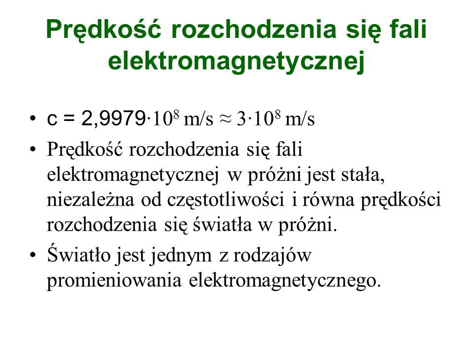 Prędkość rozchodzenia się fali elektromagnetycznej c = 2,9979 ·10 8 m/s 3·10 8 m/s Prędkość rozchodzenia się fali elektromagnetycznej w próżni jest st