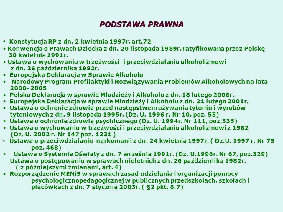 PODSTAWA PRAWNA Konstytucja RP z dn. 2 kwietnia 1997r. art.72 Konwencja o Prawach Dziecka z dn. 20 listopada 1989r. ratyfikowana przez Polskę 30 kwiet