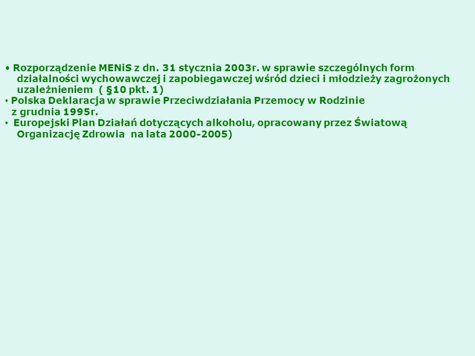 Rozporządzenie MENiS z dn. 31 stycznia 2003r. w sprawie szczególnych form działalności wychowawczej i zapobiegawczej wśród dzieci i młodzieży zagrożon