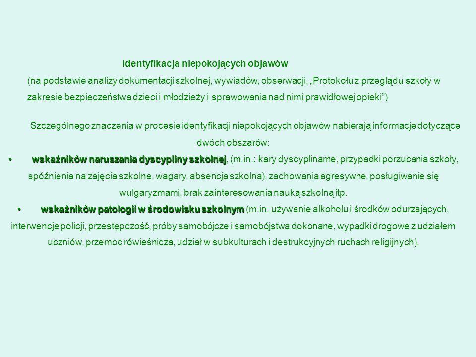 Szczególnego znaczenia w procesie identyfikacji niepokojących objawów nabierają informacje dotyczące dwóch obszarów: wskaźników naruszania dyscypliny