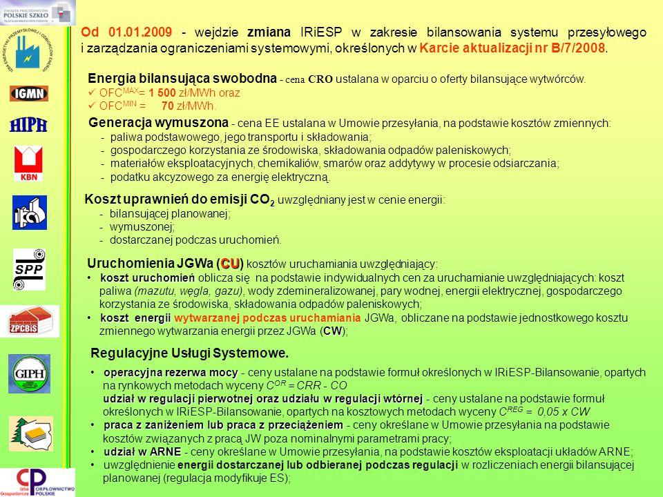 Od 01.01.2009 - wejdzie zmiana IRiESP w zakresie bilansowania systemu przesyłowego i zarządzania ograniczeniami systemowymi, określonych w Karcie aktu