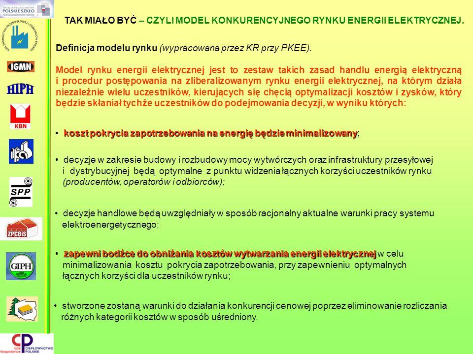 koszt pokrycia zapotrzebowania na energię będzie minimalizowany koszt pokrycia zapotrzebowania na energię będzie minimalizowany; TAK MIAŁO BYĆ – CZYLI