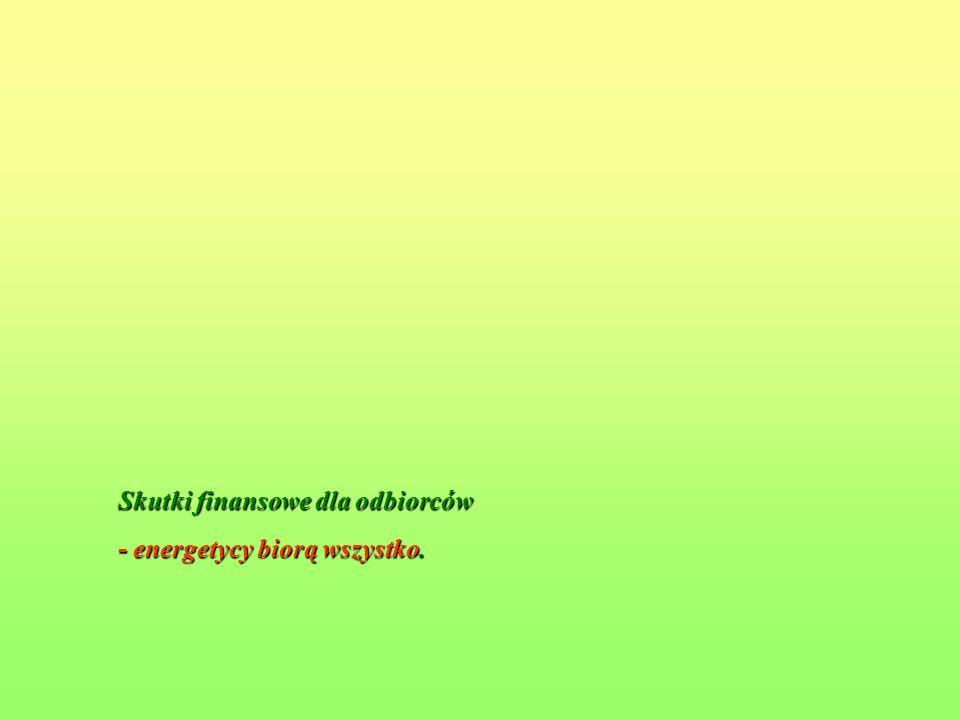 Skutki finansowe dla odbiorców - energetycy biorą wszystko.