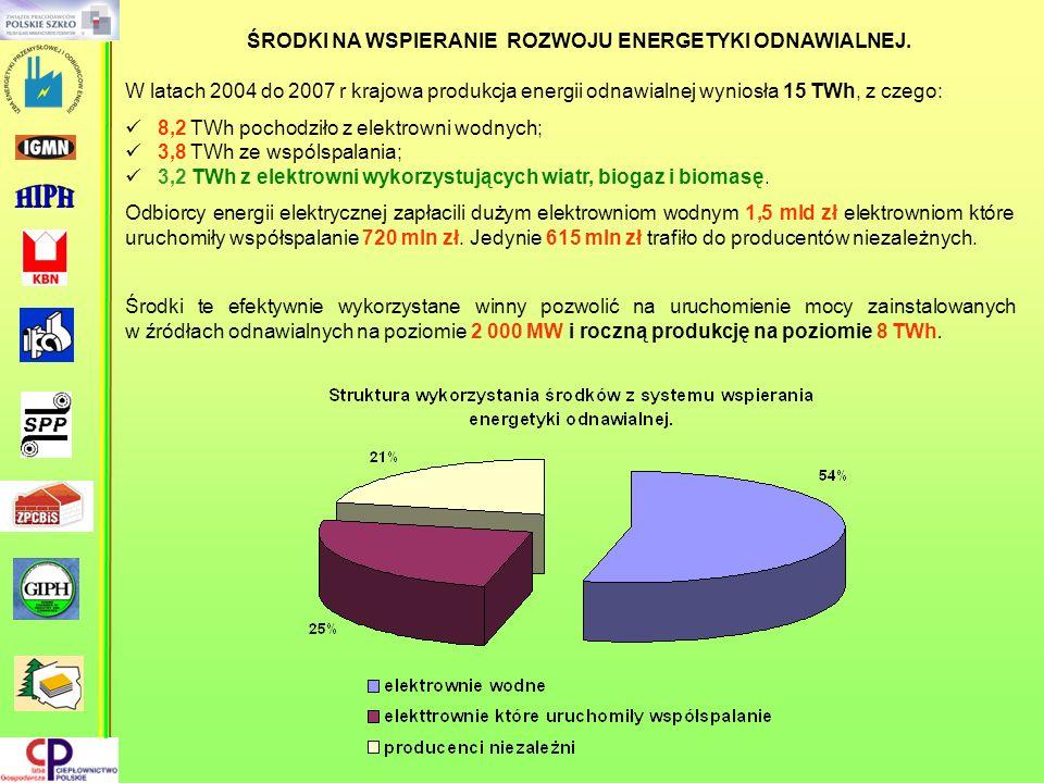 W latach 2004 do 2007 r krajowa produkcja energii odnawialnej wyniosła 15 TWh, z czego: 8,2 TWh pochodziło z elektrowni wodnych; 3,8 TWh ze wspólspala