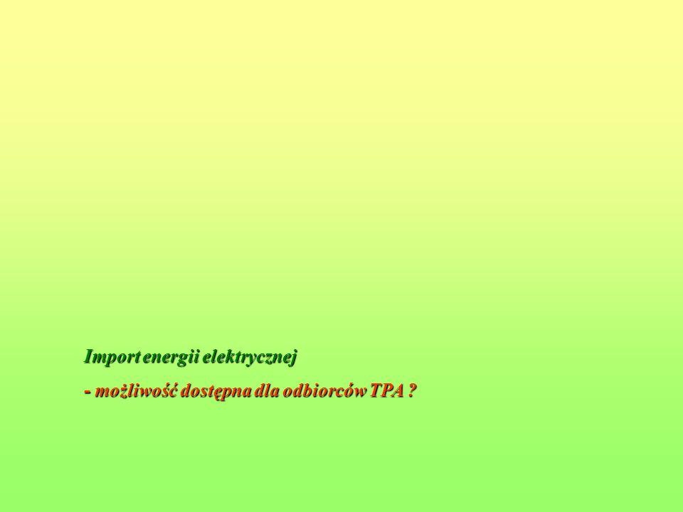 Import energii elektrycznej - możliwość dostępna dla odbiorców TPA ?