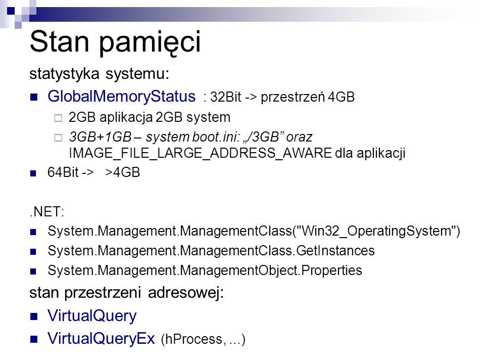 Stan pamięci statystyka systemu: GlobalMemoryStatus : 32Bit -> przestrzeń 4GB 2GB aplikacja 2GB system 3GB+1GB – system boot.ini: /3GB oraz IMAGE_FILE