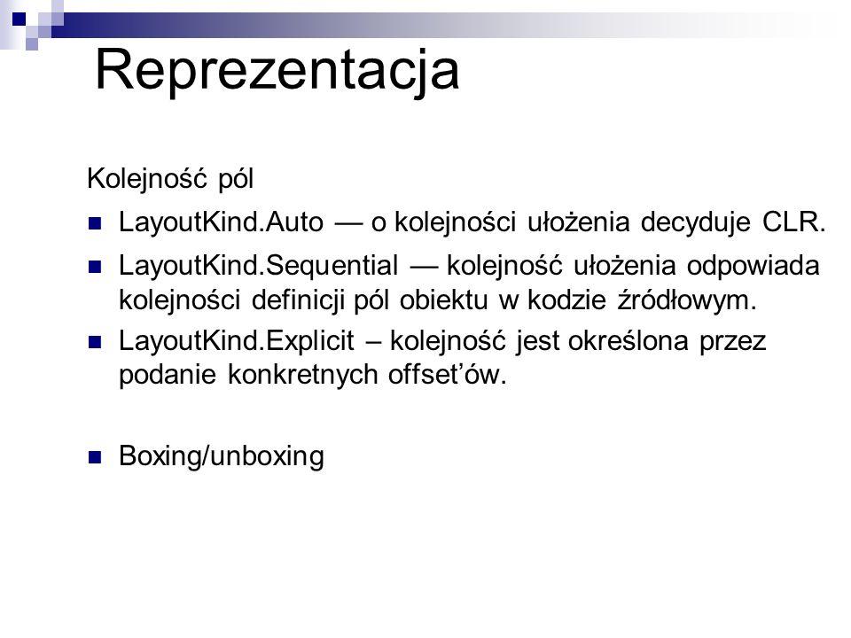 Reprezentacja Kolejność pól LayoutKind.Auto o kolejności ułożenia decyduje CLR. LayoutKind.Sequential kolejność ułożenia odpowiada kolejności definicj