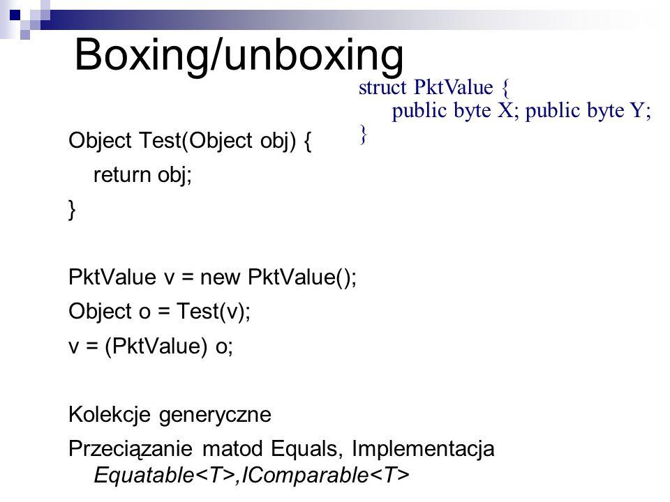 Object Test(Object obj) { return obj; } PktValue v = new PktValue(); Object o = Test(v); v = (PktValue) o; Kolekcje generyczne Przeciązanie matod Equa