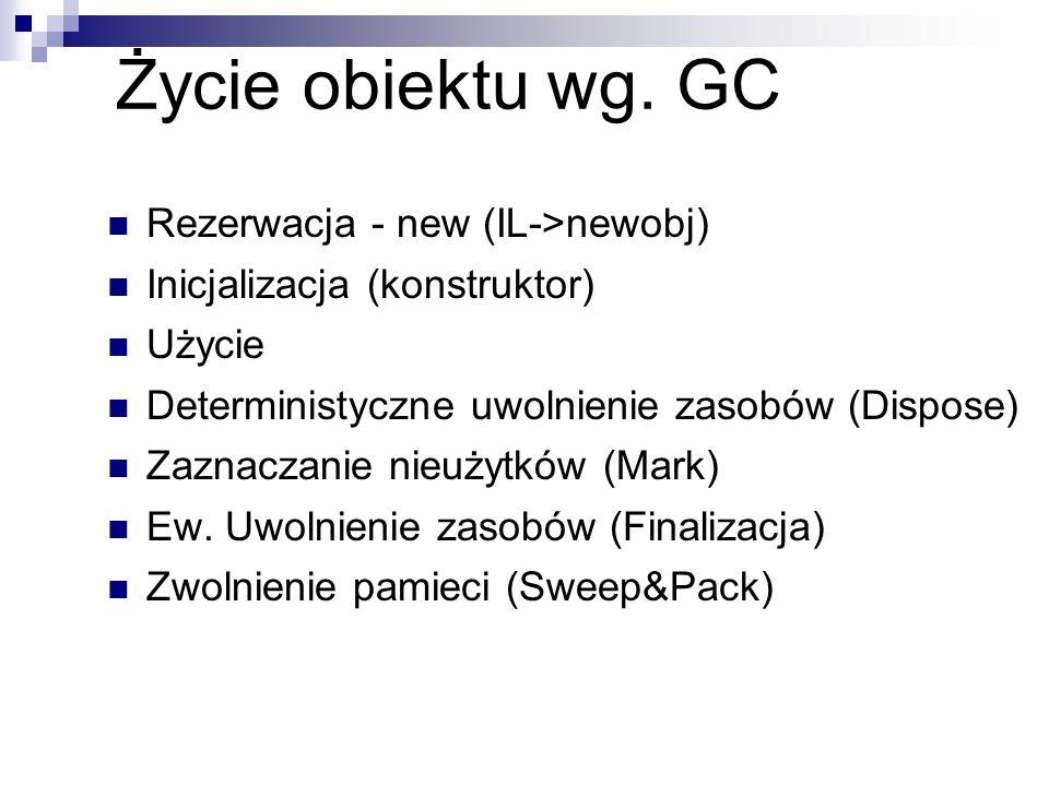 Życie obiektu wg. GC Rezerwacja - new (IL->newobj) Inicjalizacja (konstruktor) Użycie Deterministyczne uwolnienie zasobów (Dispose) Zaznaczanie nieuży