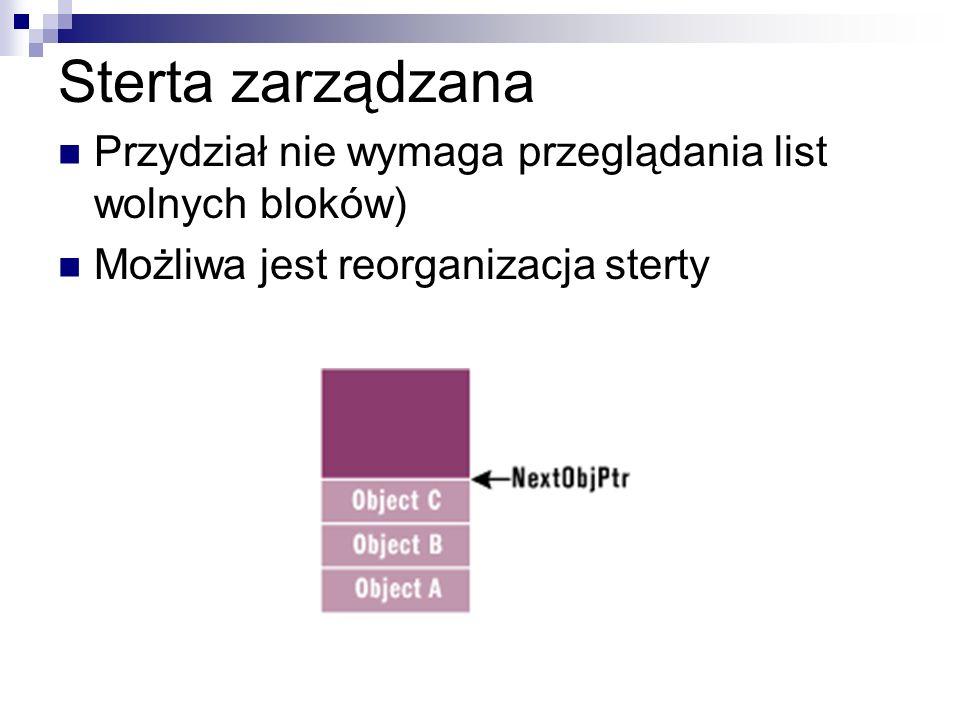 Sterta zarządzana Przydział nie wymaga przeglądania list wolnych bloków) Możliwa jest reorganizacja sterty