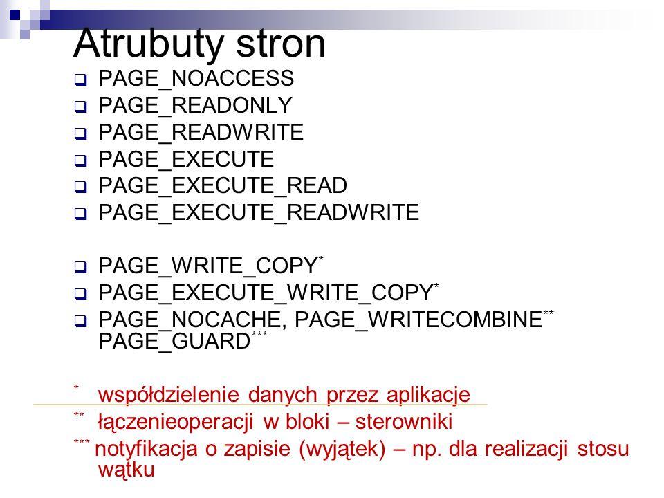Atrubuty stron PAGE_NOACCESS PAGE_READONLY PAGE_READWRITE PAGE_EXECUTE PAGE_EXECUTE_READ PAGE_EXECUTE_READWRITE PAGE_WRITE_COPY * PAGE_EXECUTE_WRITE_C