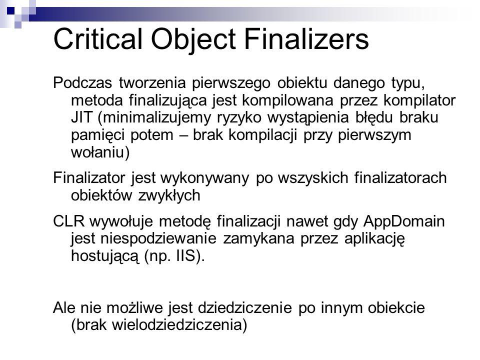 Critical Object Finalizers Podczas tworzenia pierwszego obiektu danego typu, metoda finalizująca jest kompilowana przez kompilator JIT (minimalizujemy