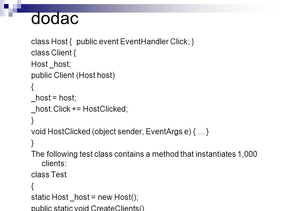 dodac class Host { public event EventHandler Click; } class Client { Host _host; public Client (Host host) { _host = host; _host.Click += HostClicked;